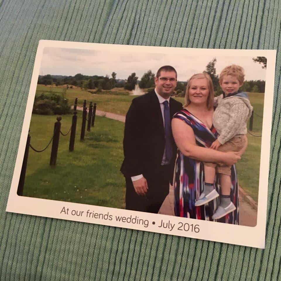 Capturing our family portrait for July at our friends wedding on a Touchnote postcard