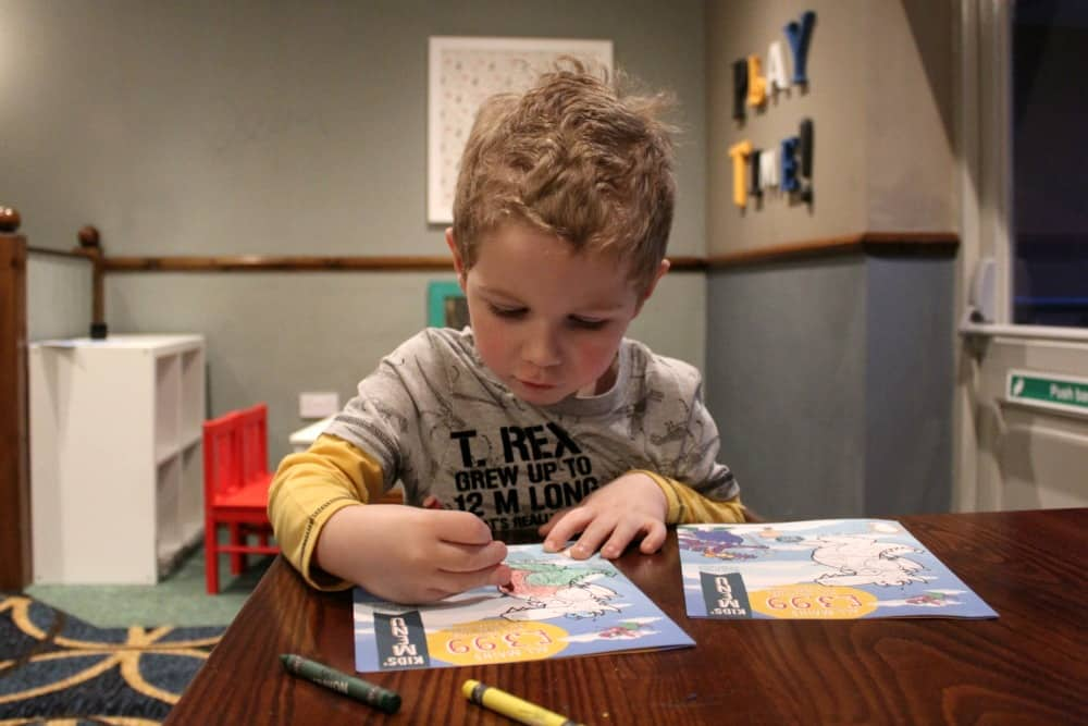 Childrens menu colouring in